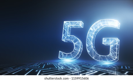 Creative glowing 5G wallpaper. Mobile internet concept. 3D Rendering