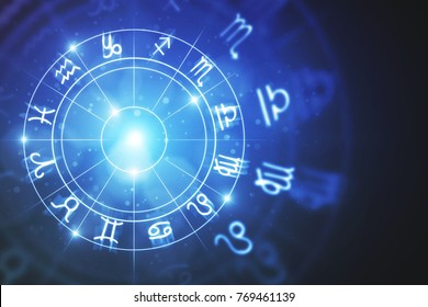 Creative glowing astrologic zodiac horoscope backdrop. Astrology concept. 3D Rendering