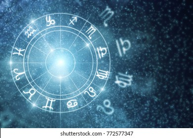 Creative glowing astrologic zodiac horoscope wallpaper. Astrology concept. 3D Rendering