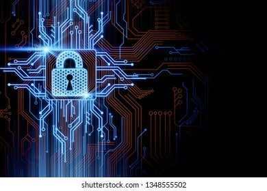 Creative glowing colorful circuit padlock background. Safety and password concept. 3D Rendering