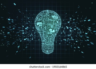 Creative glowing digital circuit lamp with binary code hologram. Technology and startup concept. 3D Rendering