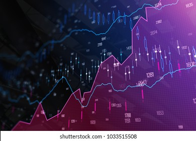 Creative glowing forex background. Analysis and trade concept. 3D Rendering
