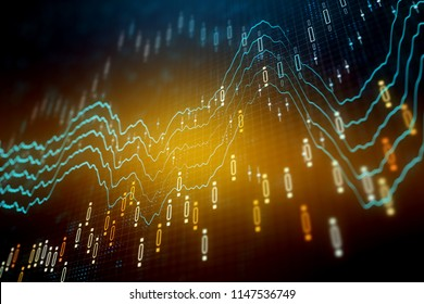 Creative glowing forex chart background. Investment and income concept. 3D Rendering