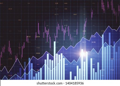Creative glowing forex chart background. Invest and trade concept. 3D Rendering