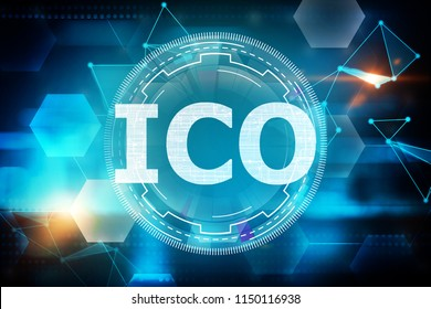 Creative glowing ico background. Initial coin offering concept. 3D Rendering