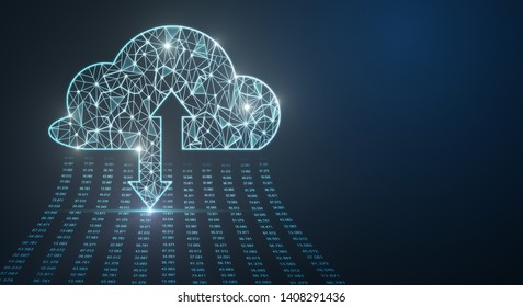 Creative glowing polygonal cloud on blue background. Cloud computing and data concept. 3D Rendering