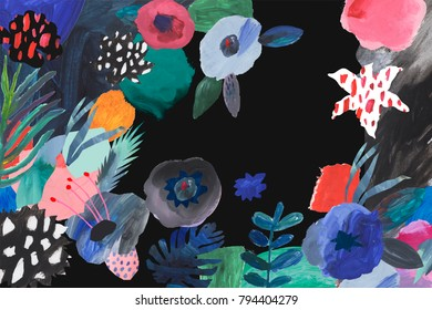 Creative hand drawn flowers. Painted art background