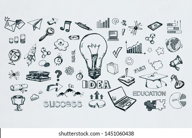 Creative hand drawn sketch on subtle white wall background. Idea and success concept. 3D Rendering