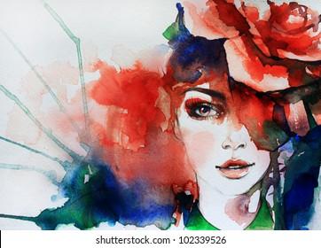 Creative hand painted fashion illustration