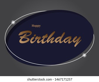 Creative happy birthday text design on 3d eliptical shape with shining star