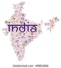 creative Hindi alphabet texture on an India county map silhouette