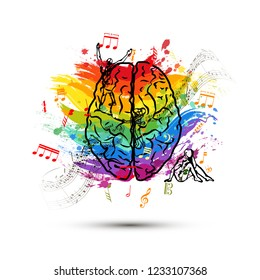 Creative human brain in top view, left side of brain functions concept on white