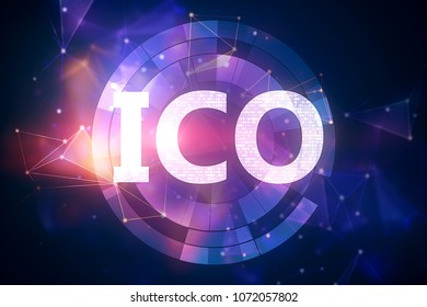 Creative ICO button on blurry background. Cryptocurrency concept. 3D Rendering