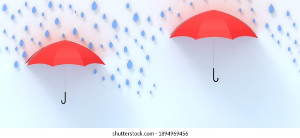 Creative idea inspiration. Umbrella Red and rain with blue background and Protection business Concept, copy space, banner - 3d rendering
