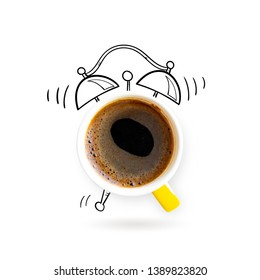 Creative idea layout coffe cup alarm clock on white background. Creative minimal business concept. Advertising marketing communications. From top view