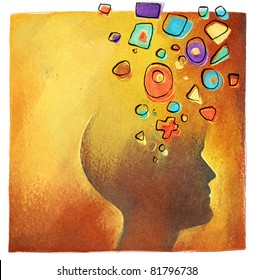 creative ideas - abstract colorful head symbol