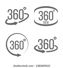 Creative illustration of 360 degrees view related sign set isolated on background. Art design. Abstract concept graphic rotation arrows, panorama, virtual reality helmet element