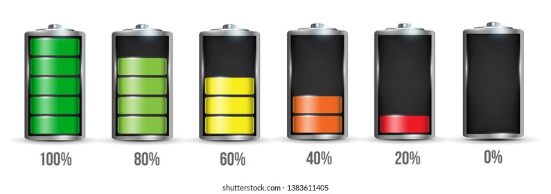 Creative illustration of 3d different charging status battery load isolated on background. Discharged power sources. Art design. Abstract concept graphic element for displays, icon