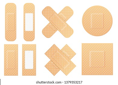 Creative illustration of adhesive bandage elastic medical plasters set isolated on background. Art design medical elastic patch. Abstract concept graphic different shape element.