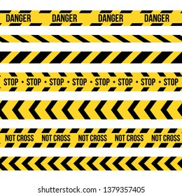 Creative illustration of black and yellow police stripe border. Set of danger caution seamless tapes. Art design line of crime places. Abstract concept graphic element. Construction sign.