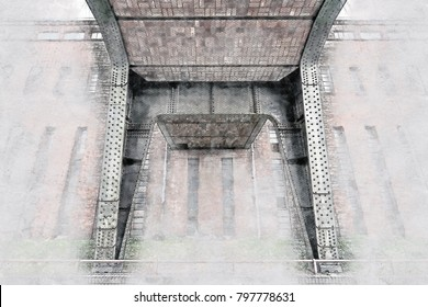 Creative Illustration - Brick and Steel Pillar of a Bridge, in front of a Brick Building