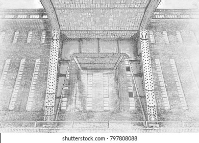Creative Illustration - Brick and Steel Pillar of a Bridge, in front of a Brick Building - Pencil Sketch