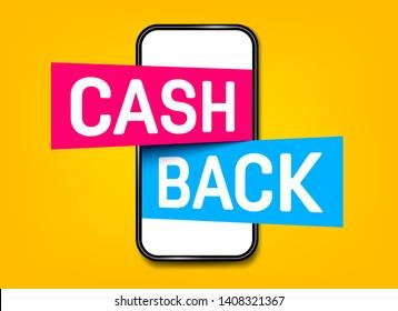 Creative illustration of cash back, cashback return, money refund tag isolated on background. Art design sticker, labels, emblem advertisement banner template. Abstract concept graphic element