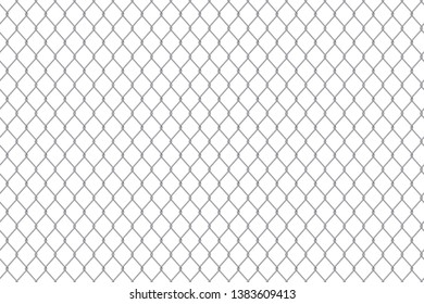 Creative illustration of chain link fence wire mesh steel metal isolated on background. Art design gate made. Prison barrier, secured property. Abstract concept graphic element