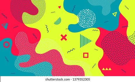 Creative illustration of children cartoon color splash background. Art design trendy 80s-90s memphis style. Geometric line shape pattern. Abstract concept graphic playground banner element