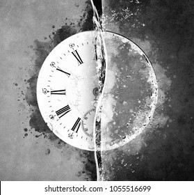 Creative Illustration - Clock and Water - Black and White