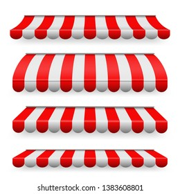 Creative illustration of colored striped awnings set for shop, restaurants and market store in different forms isolated on background. Art design. Abstract concept graphic element