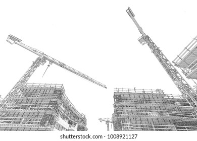 Creative Illustration - Construction Site - Pencil Sketch - Isolated