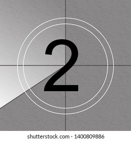 Creative illustration of countdown frame. Art design. Old film movie timer count. Vintage retro cinema. Abstract concept graphic element. Universal leader. Number one - 1