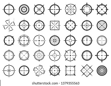 Creative illustration of crosshairs icon set isolated on background. Art design. Target aim and aiming to bullseye signs symbol. Abstract concept graphic games shooters element