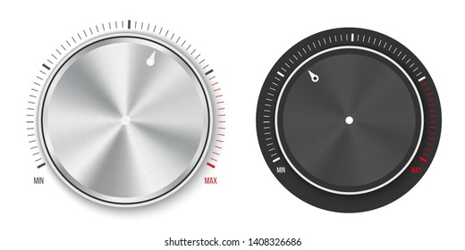 Creative illustration of dial knob level technology settings, music metal button with circular processing isolated on background. Sound control. Art design. Abstract concept graphic element