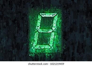 Creative Illustration - Digital Display Number 8 - Green Glow in the Dark - Oil Painting
