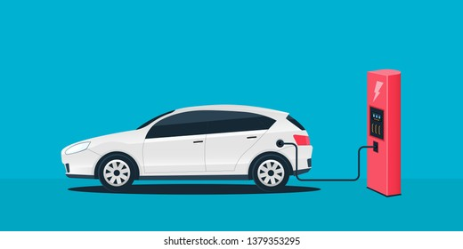Creative illustration of electric charging future car, charger station isolated on background. Art design electromobility e-motion template. Abstract concept graphic element