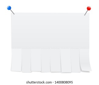 Creative illustration of empty blank sheet paper advertising with tear-off cut slips isolated on background. Street art design copy space template. Abstract concept graphic element