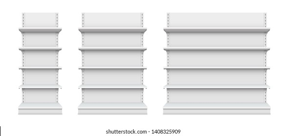 Creative illustration of empty store shelves isolated on background. Retail shelf art design. Abstract concept graphic showcase display element. Supermarket product advertising blank mockup