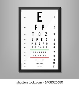 Creative illustration of eyes test charts with latin letters isolated on background. Art design medical poster with sign. Concept graphic element for ophthalmic test for visual examination