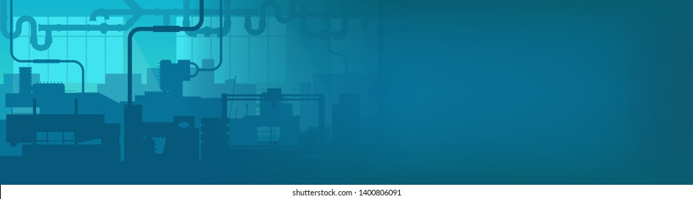 Creative illustration of factory line manufacturing industrial plant scen interior background. Art design the silhouette of the industry 4.0 zone template. Abstract concept graphic element