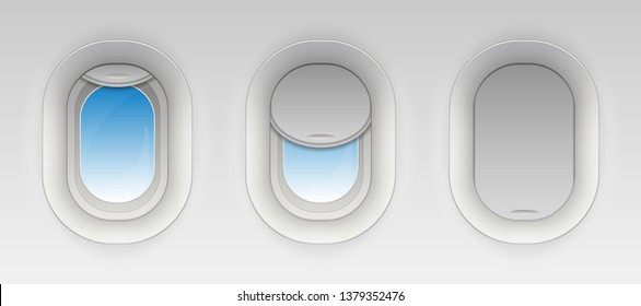 Creative illustration of flight airplane window, blank plane portholes isolated on background. Art design aircraft open and closed illuminator. Abstract concept graphic element