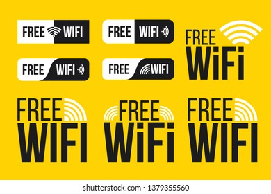 Creative illustration of free wifi icon symbol set isolated on background. Art design wireless network for wlan free access. Abstract concept graphic wave signal element