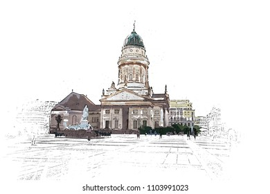 Creative Illustration - French Cathedral, Berlin - Watercolor painting