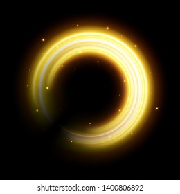 Creative illustration of golden light effect, glowing wavy lines, shine curve sparkles isolated on background. Art design magic twinkle particles. Abstract concept graphic element