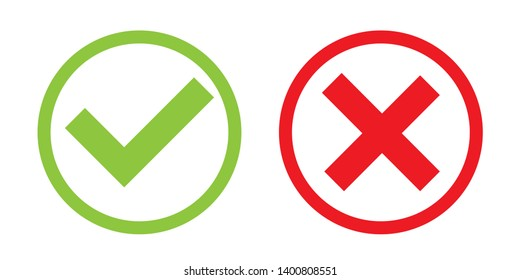 Creative illustration of green tick, red cross isolated on background. Art design with text do and dont. Right or wrong. True or false. Abstract concept graphic element