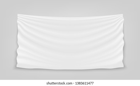 Creative illustration of hanging empty white cloth isolated on background. Art design banner fabric textile with shadow. Blank flag. Abstract concept graphic element