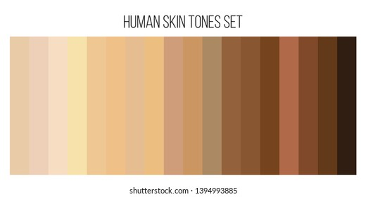 Creative illustration of human skin tone color palette set isolated on background. Art design. Abstract concept person face, body complexion graphic element for cosmetics