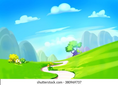 Creative Illustration and Innovative Art: Clean Green Hill with Road to the Mountain. Realistic Fantastic Cartoon Style Artwork Scene, Wallpaper, Story Background, Card Design