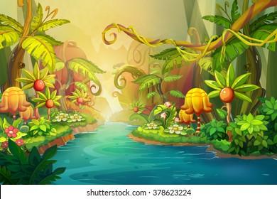 Creative Illustration and Innovative Art: Fairy River Scene Design. Realistic Fantastic Cartoon Style Artwork Scene, Wallpaper, Story Background, Card Design